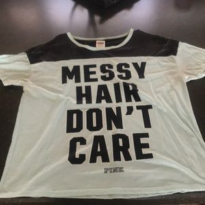 """MESSY HAIR DONT CARE"" Pink shirt"